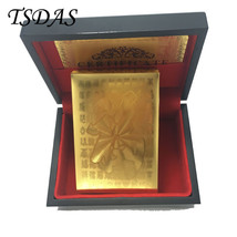 """FU"""" Letter 24K Gold Foil Playing Card Poker Card With Wooden Box - $14.50"""