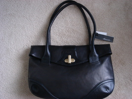 Black Leather Shoulder Bag  Kenneth Cole  - $154.99