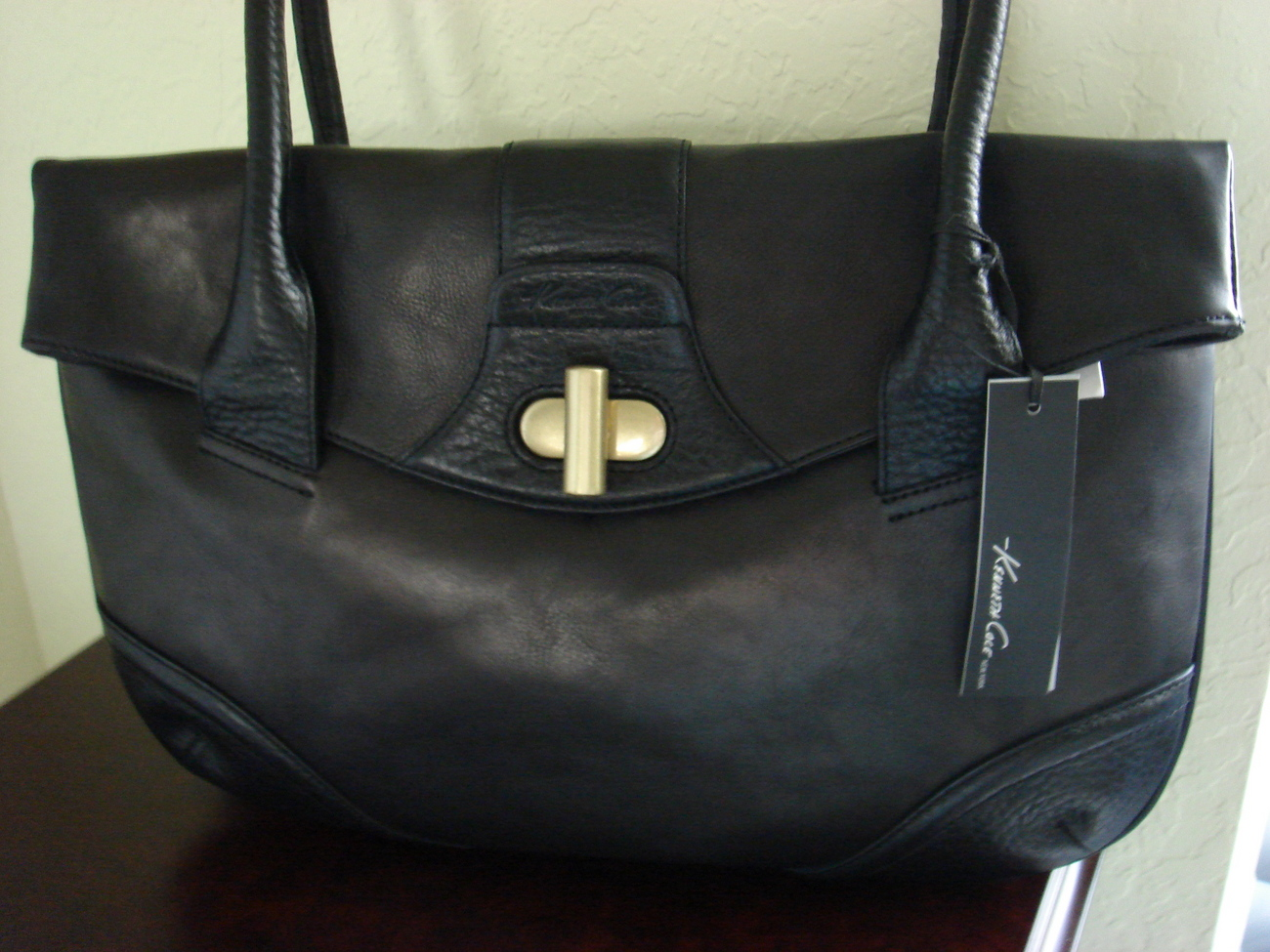 Black Leather Shoulder Bag  Kenneth Cole