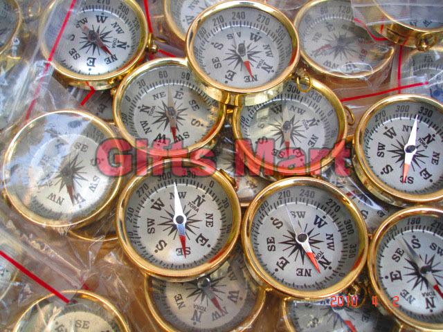 Brass COMPASS KEYCHAIN Wholesale LOT 100pcs NAUTICAL GIFT  Guarantee LowestPrice