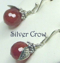 Faceted Carnelian Gemstone  with Silver Leaves Earrings  Apples - $17.99
