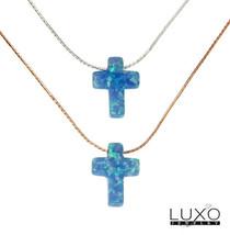 "▌Women's 925 Sterling Silver Opal Cross Necklace 16"" to 18"" »P518 - $19.99"