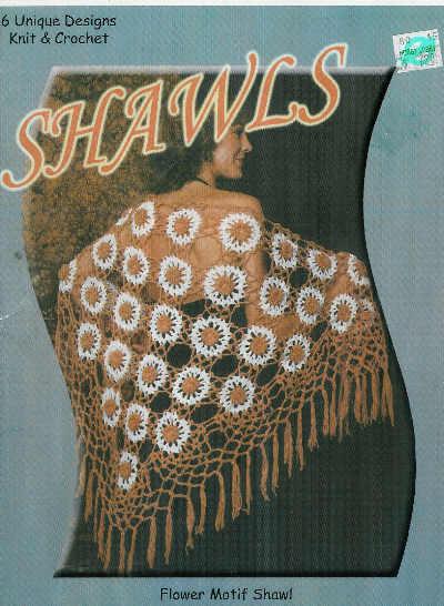 *Crochet/Knit Shawl Pattern Lacy Flower Motif Indian Blanket