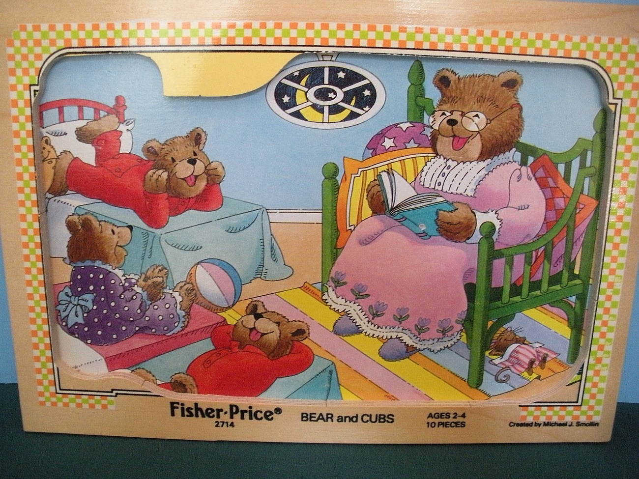 Vintage Pick-Up and Peek #2714 Bear and Cubs Wooden Puzzle EXC++
