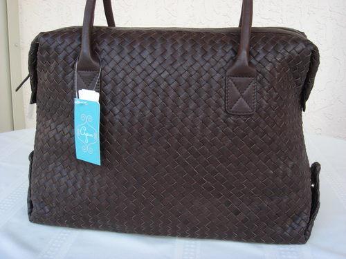 Aqua Brown Leather Weave Tote  Bonanza