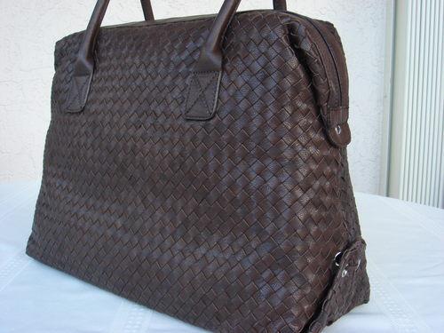 Aqua Brown Leather Weave Tote