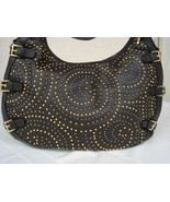 House Of Dereon Hip Hop Metal Brown Leather Hobo  - $199.99