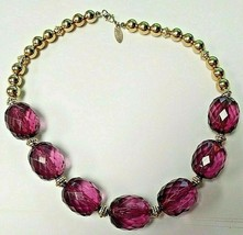 Purple Beaded Necklace Gold Beads Costume Jewelry George - $15.80