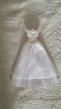 BARBIE DOLL WHITE WEDDING DRESS GOWN PINK LABEL, 2 TIER, LACE, OFF SHOUL... - $9.89