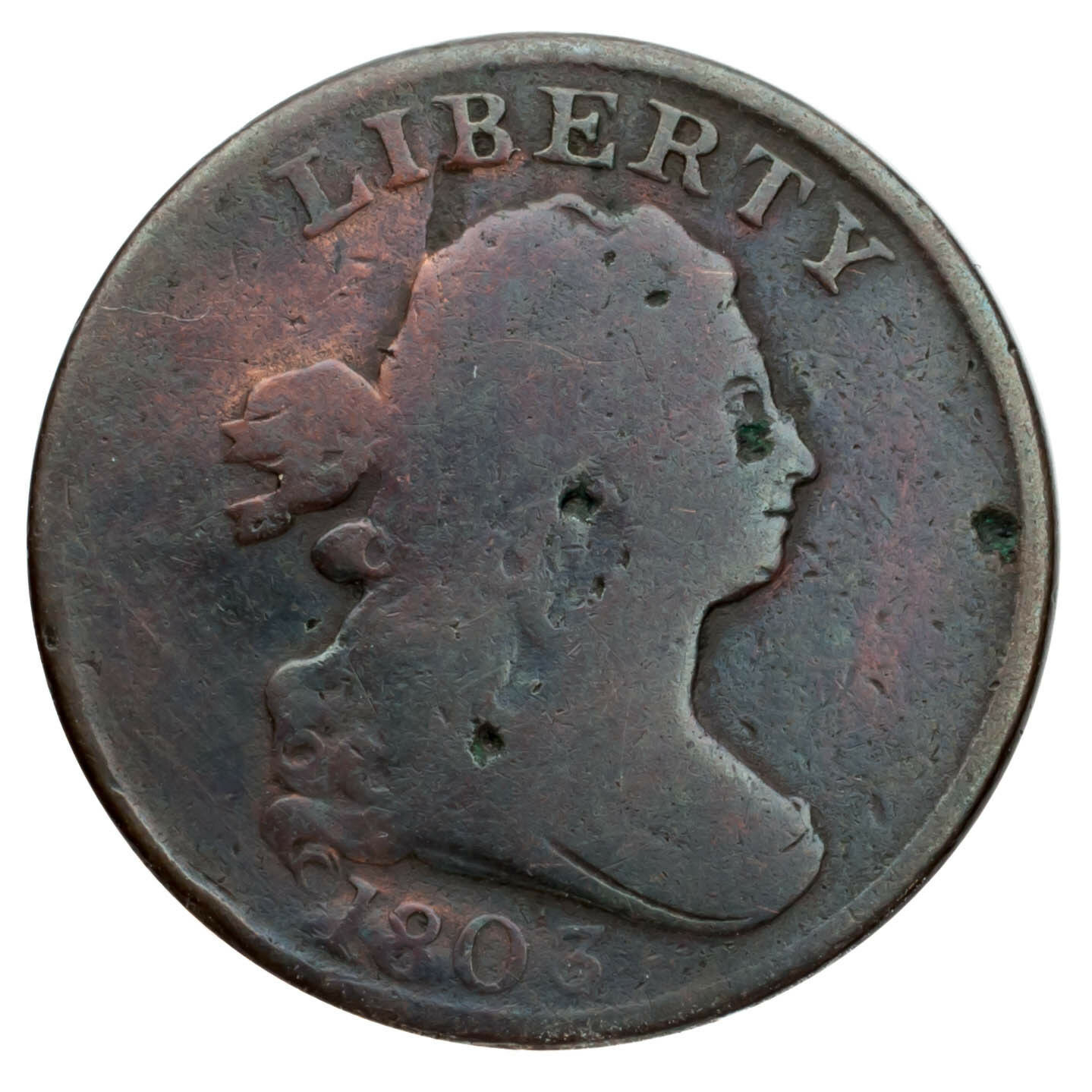 1803 Busto Drapeado Half Cent 1/2C ( Bueno, G Estado) Completa Fuerte Fecha ! image 2