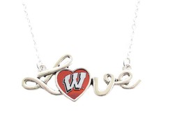 Wisconsin Badgers Red White Love Script Heart Womens Silver Necklace Jew... - $13.60