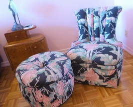 Vintage 1940'S ART DECO CHANNEL BACK UPHOLSTERED  CLUB CHAIR & OTTOMAN - $377.00