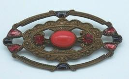 Vintage Victorian Brass Red Glass Brooch Pin C Clasp Rhinestones Enamel Oval - $24.74
