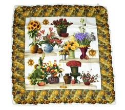 Gucci Scarf Sunflower 87 cm Silk Floral flower Shawl Vintage RA807 - $158.48