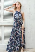 2017 Floral Print Beach Dresses Split Long Dress Elegant Sexy Maxi Dress... - $45.99