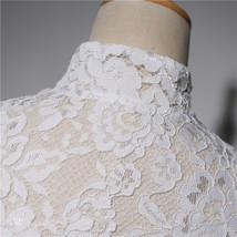 Women Retro Square Neck Lace Shirt Button Down Wedding Bridal Lace Crop Shirts image 6