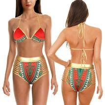 Women's Push Up Padded High Waist Ethnic Print Bikini Swimwear Set image 6