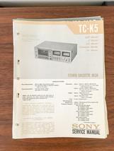 Sony TC-K5 Cassette Service Manual *Original* #1 - $18.53