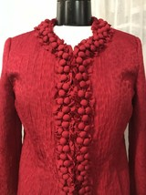 Chico's Women's Blazer Red Print Decorated Detail Lined Chico's Size 0 / 4 - $29.69