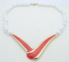 VTG Gold Tone Red Enamel White Plastic Beaded Choker Necklace - $19.80