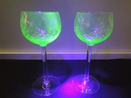 Pair!Vaseline Art Glass Bohemian Cut Crystal Drinking Cup Wine Liquor Drink - $42.75