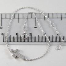 Bracelet or Blanc 750 18K, Longueur 18 cm avec Croix Vis- , Fabriqué en ... - $141.98