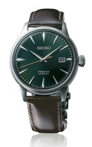 New Seiko Presage Cocktail Time Green Dial Leather Strap Men's Watch SRPD37 - £342.34 GBP