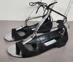 Jimmy Choo 'Vernie' Lace-Up Sandal Black Suede Womens size 8.5 / 38.5 - $112.49