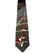 Reindeer Games Men's Silk Neck Tie Santa Football Christmas Gift Black N... - $15.79
