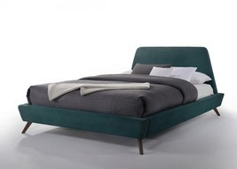 Modrest Lewis Mid-Century Modern Teal & Walnut Bed - $704.00