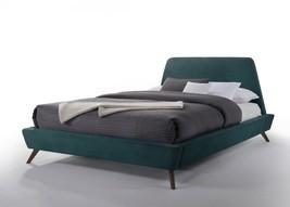 Modrest Lewis Mid-Century Modern Teal & Walnut Bed - £505.08 GBP