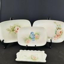 4 Vtg Hand Painted Porcelain Signed Small Serving Platters Rose's & Blue... - $44.55