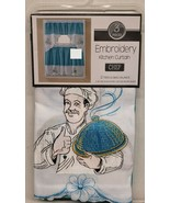 """3pc. Embroidery Curtains Set:2 Tiers(30x36"""")& Swag(60x36"""") FAT CHEF WITH... - $22.76"""