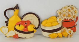 Vintage SYROCO Fruit Lemons & Daisies Wall Plaques Yellow Orange Brown M... - $22.43
