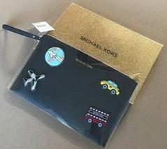 Michael Kors NWT Sticker Bar Zip Leather Clutch Large Wristlet Wallet SET - $71.44