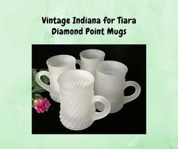 4 Vintage Tiara Diamond Point Mugs by Indiana Glass Frosted / Satin - $14.00