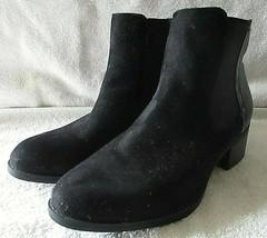 Women's Ashley Stewart Sleek Black Suede Alligator Design Ankle Boots Si... - $29.70