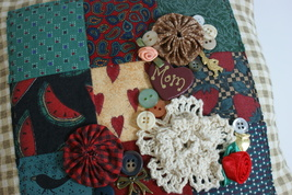 Mom Patchwork Pillow OOAK Handmade Handsewn Accent Charms - $10.00