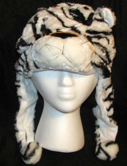 White Tiger Critter Hat Animal Hat Child Size One Size Fur Feel Warm Soft NEW
