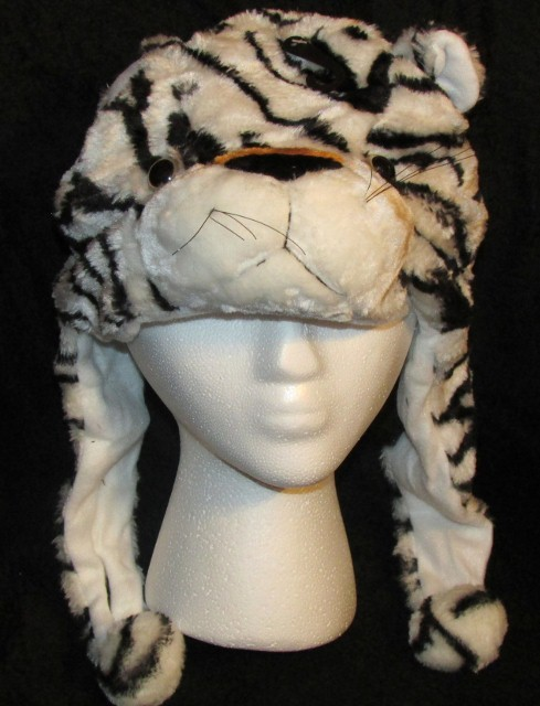 White Tiger Critter Hat Animal Hat Child Size One Size Fur Feel Warm Soft NEW image 3