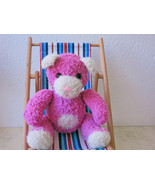 Handmade Fluffy Teddy Bear - collectible stuffed toy - OOAK - pink - $40.00
