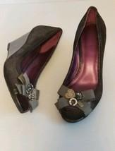 Coach Poppy Jaden Brown Open Toe Wedge Heels Size 7 B - $39.59