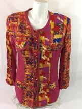 carole little Color Full Blouse Women Size 6 Large Bin32#14 - $8.59