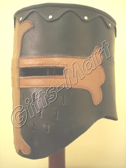 Crusader Great Helmet 13th Century Black Leather Helmet Medieval Costume Armor