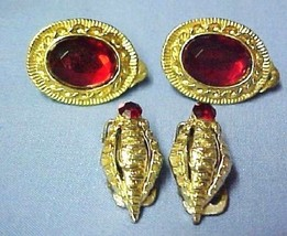 Clip Back Earrings Retro Costume Jewelry Red Faceted Stone 2 Pair Gold Plated - $10.75
