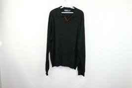 Polo Ralph Lauren Mens XL Italian Yarn Wool Long Sleeve Polo Sweater Black - $34.60