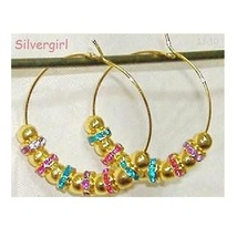 "1 1/2"" Sparkling Crystal Like Beaded Hoop Earrings - €8,72 EUR"