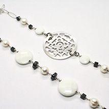 Collier Long 1 MT en Argent 925 Avec Hématite Agate Et Perles Fabriqué En Italie image 5