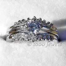1.04ct Russian Ice CZ Stacked 3 pc Wedding Ring Set s 6 - $52.00