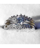 1.04ct Russian Ice CZ Stacked 3 pc Wedding Ring Set s 8 - $52.00